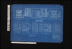 Interior details -- buffet; section thru entry showing dresser (dresser in apartment no. 8 is narrower but of similar design); desk; cases in kitchens; case in bathroom #2; case in bathroom #3; case in bathroom #5; case in kitchen #6 :Sheet no. 8.
