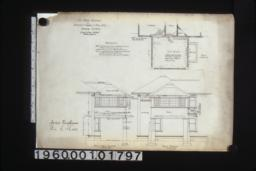 Sun room addition -- front or west elevation; plan; south elevation.