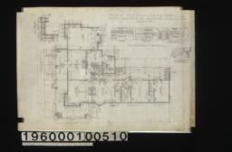 Plan of ground floor; plan of corner of bay; 1/4 inch scale details of fireplaces -- library\, reception hall\, dining room (same detail in bedr'm #1; 1 inch scale detail of corner A of mantel in library :Sheet no.2.