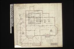 """Foundation plan; detail drawings of -- 4"""" brick retaining wall\, porch wall & piers\, brick piers\, section ofmain wall at """"A-A""""\, foundations for chimneys :1."""
