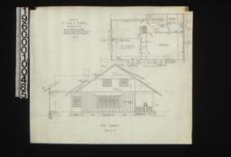 West elevation with sections through wall\, second floor plan : No.3.