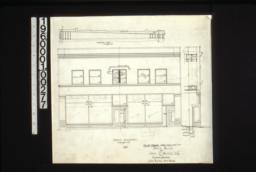 Revised drawing showing changes -- longitudinal section through roof\, front elevation\, section through front at vestibule :3a.