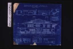 Front (east) elevation; interior details -- section thro' fireplace\, west side of living room\, west side of dining room\, stairs\, north side of dining room\, west side of den\, north side of den\, looking west in hall (2nd floor)\, looking south in hall (2nd floor) :Sheet no. 5. (6)