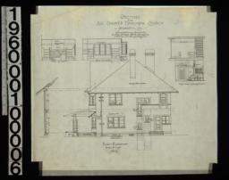 East elevation with section through wall ; elevations of walls in study - looking north, study - looking east ; section through main hall - looking north : No. 6.