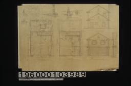 Garage -- first floor plan\, second floor plan\, north elevation\, south elevation\, section C-C\, section D-D\, F.S. section thru sill outside doors\, section thru sill\, section A-A\, section B-B\, section thru front :Sheet no. 1.