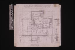 Foundation plan; chimney detail; girder post footings; section thro' wall footings : Sheet no. 1,