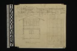 Detail of sleeping porch showing section through wall ; section thro' sleeping porch and laundry ; plan of ceiling :7.