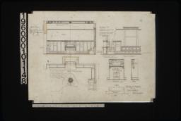 Details of bookcases and stereo relief in library -- elevation with section through seat\, section through desk & cupboard\, elevation of front of seat\, plan of bookcases\, reflected ceiling plan of centre piece of stereo relief; details of mantel in southwest bedroom -- front elevation\, side elevation\, plan :11.