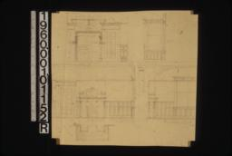 1/2 scale details of dining room -- elevation of alcove\, side elevation of bay\, elevation of east side showing mantel\, plan of mantel\, elevation of south side.