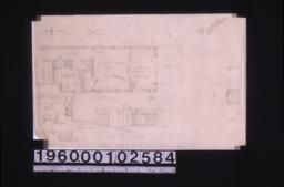 Partial plan of second floor\, part west elevation\, plan showing change in pantry on first floor\, unidentified plan : 1-4R\,