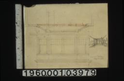 Plan and elevation of windows\, perspective sketch of unidentifed room