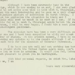 Letter: 1952 November 2