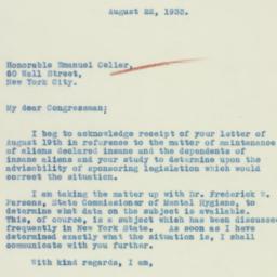 Letter: 1933 August 22