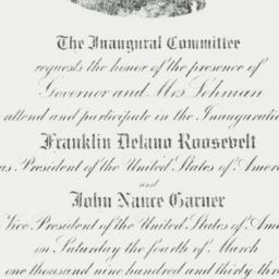 Invitation: 1933 March 4