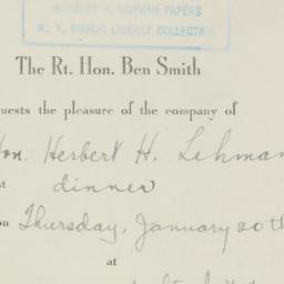 Invitation: 1944 January 20