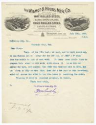 Wilmot & Hobbs M'f'g Co.. Letter - Recto