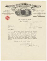 Atlantic Manufacturing Company. Letter - Recto