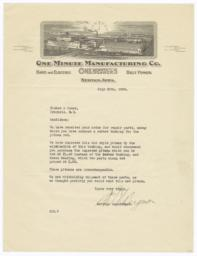 One Minute Manufacturing Co.. Letter - Recto
