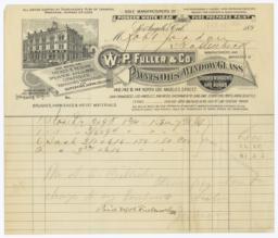 W.P. Fuller & Co.. Bill - Recto