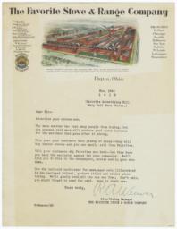 Favorite Stove & Range Company. Letter - Recto