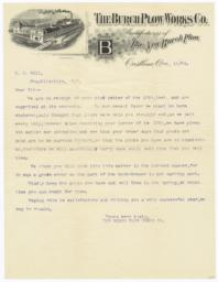 Burch Plow Works. Letter - Recto