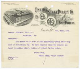 Oneida Steel Pulley Co.. Letter - Recto