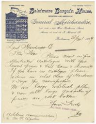 Baltimore Bargain House. Letter - Recto
