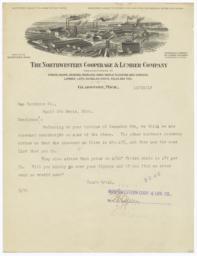 Northwestern Cooperage & Lumber Company. Letter - Recto