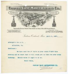 Chapman Valve Manufacturing Co.. Letter - Recto