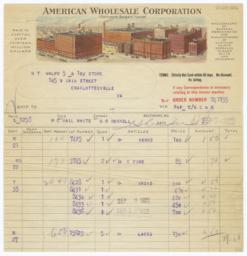 American Wholesale Corporation. Bill - Recto