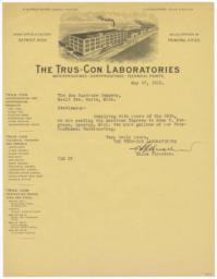Trus-Con Laboratories. Letter - Recto