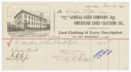 American Card Clothing Co.. Bill - Recto