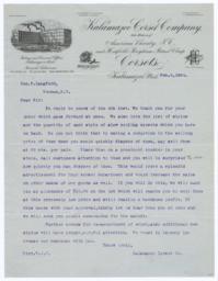 Kalamazoo Corset Company. Letter - Recto
