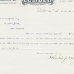 A. Backus, Jr. & Sons. Letter