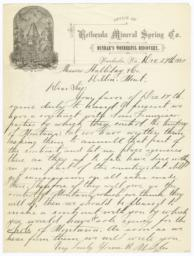 Bethesda Mineral Spring Co.. Letter - Recto