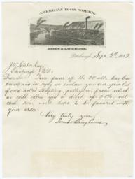 American Iron Works Jones & Laughlins. Letter - Recto