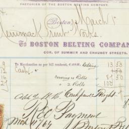 Boston Belting Company. Bill
