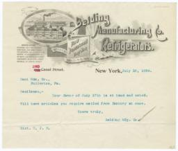 Belding Manufacturing & Refrigerators. Letter - Recto