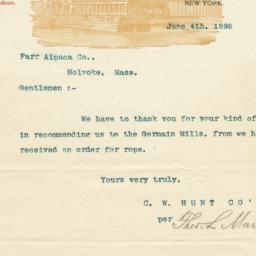 C. W. Hunt Company. Letter