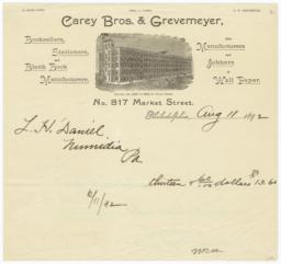 Carey Bros. & Grevmeyer. Bill - Recto