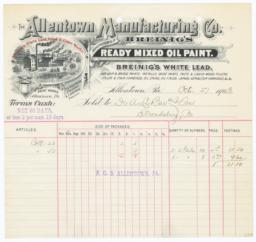 Allentown Manufacturing Co.. Bill - Recto