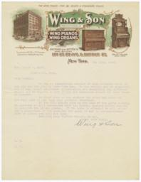 Wing & Son. Letter - Recto