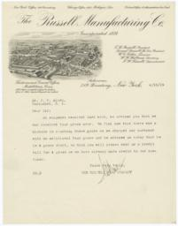 Russell Manufacturing Co.. Letter - Recto