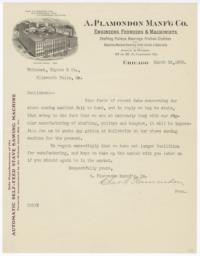 A. Plamondon Manf'g Co.. Letter - Recto