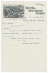 National India Rubber Company. Letter - Recto