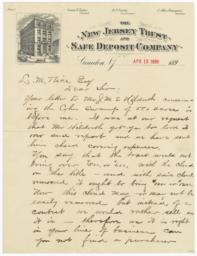 New Jersey Trust and Safe Deposit Company. Letter - Recto