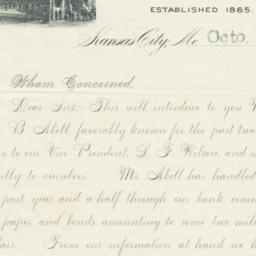 Bank of Commerce. Letter