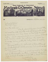Maybrook Co-operative Stores. Letter - Recto