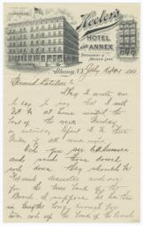 Keeler's Hotel and Annex. Letter - Recto
