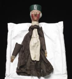 Elderly Male Hand Puppet With Long Nose, Green Cap, Eyeglasses